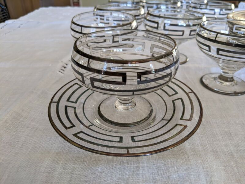 Sterling Silver Overlay Crystal Champagne Sherbet Glasses & Underplates Set