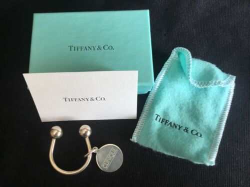 Authentic Tiffany & Co. Sterling Silver Horseshoe Keychain Key Ring Pouch & Box