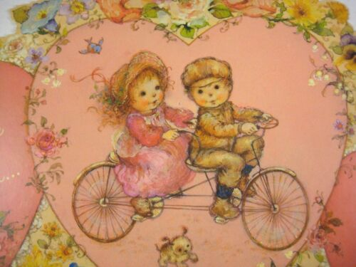 Valentine Day Decoration Card Used Die Cut Boy Girl Two-person Bicycle 1984