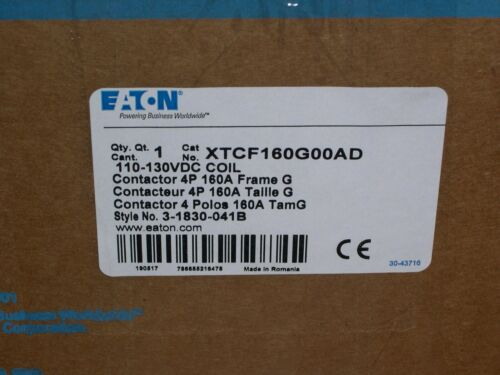 EATON, XTCF160G00AD, 4 POLE CONTACTOR, 125VDC COIL, 160A, FRAME G, NEW