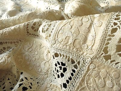 OPULENT Antique c1900 Tablecloth EMBROIDERED SILK Bobbin Lace FLEUR de LIS 64x80