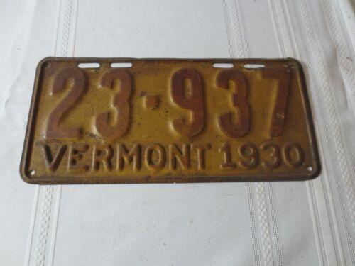 1930 VERMONT LICENSE PLATE 23-937