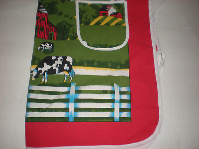 Ladies Bib Apron with Red Green Black Cow & Barn Design 2 Pockets NEW
