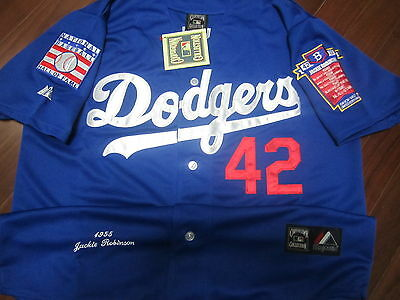 Brand New  Brooklyn Dodgers  42 Jackie Robinson W 2Patches Stitched Jersey Blue