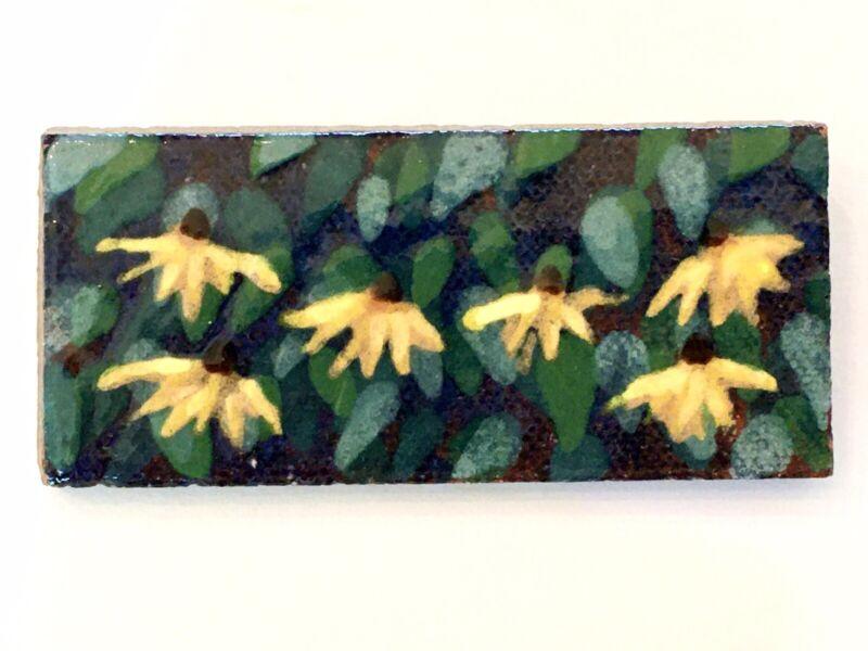 Vintage MARBLEHEAD TILEWORKS Hand Painted Clay or Ceramic Floral & Leaves Pin