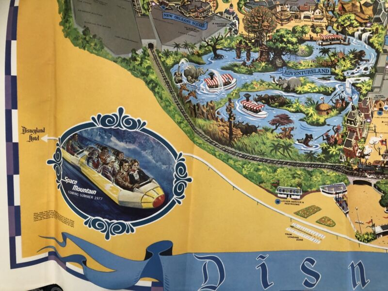 """Disneyland Vintage Folded Map 44""""x 30"""" """"Space Mountain Coming Summer 1977"""""""