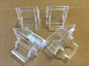 Lot of 4 Bird Cage Seed Water Food Feeder Clear Plastic Hood Cups - 159