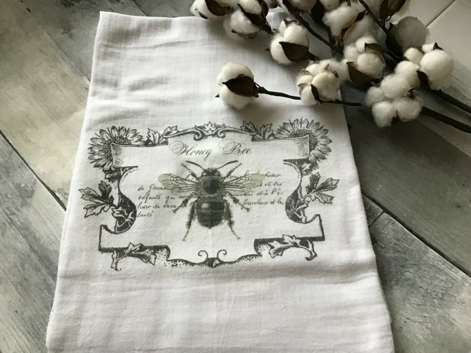 ~ HONEY Bee Flour Sack Kitchen Towel Dish Towel Décor Gift
