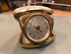 Vintage Westclox Travel Alarm Clock Miniature Folding 7 Jewel Brass WindUp Works