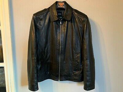 VINTAGE HUGO BOSS CAFE RACER STYLE LEATHER JACKET SIZE S