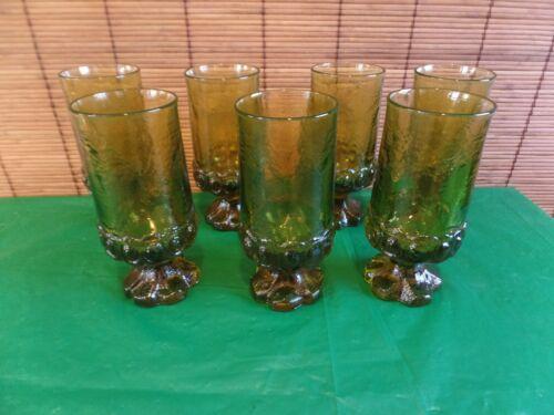 "Vintage  Green Stem Glass 6 5/8"" 12 Oz Mint! Very heavy 1.75 lbs. each 7 total"
