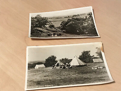 2 x 1962 Real Photo Postcards of Girl Guide's Camp Dudsbury Camp Fire