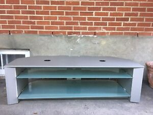 Flat Screen TV stand with glass shelves