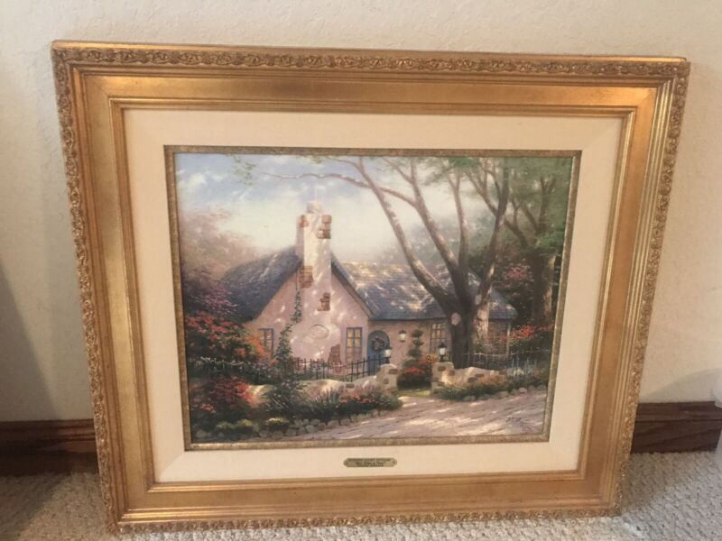Thomas Kinkade Morning Glory Cottage Limited Edition S/N Framed Canvas Painting