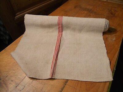 A Homespun Linen Hemp/Flax Yardage 6 Yards x 24'' Red Stirpes  #10564