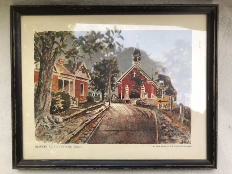 Dover Tennessee Stewart County Print Old Church Jack Knox 1957