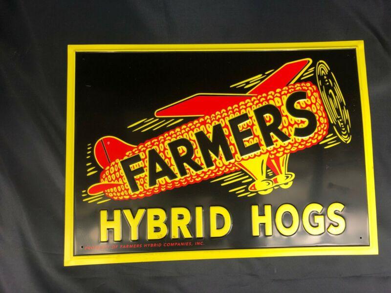 "Farmers Hybrid Hogs Pig Hog Farm Feed Seed Corn 14"" Embossed Metal Sign~Nice"