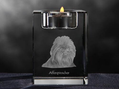 Affenpinscher, crystal candlestick with dog, souvenir, Crystal Animals CA