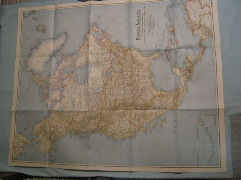 VINTAGE LARGE NORTH AMERICA WALL MAP National Geographic May 1942