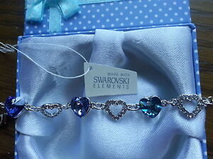 Genuine Swarovski Elements Gift Boxed Blue Sapphire Bracelet - £35!
