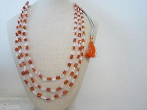 collana 3 fili cristallo corniola montata su cordino classico orientale l. 48 cm - Italia - L'oggetto può essere restituito - Italia