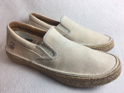 Sperry Top Sider Mens Size 9.5 M Loafer Boat Shoe Canvas Beige 0833814 Excellent