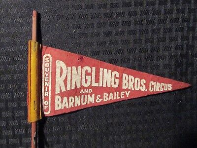 "Vintage Ringling Bros and Barnum & Bailey Circus 8"" Red Pennant w/ Stick VG 4.0"