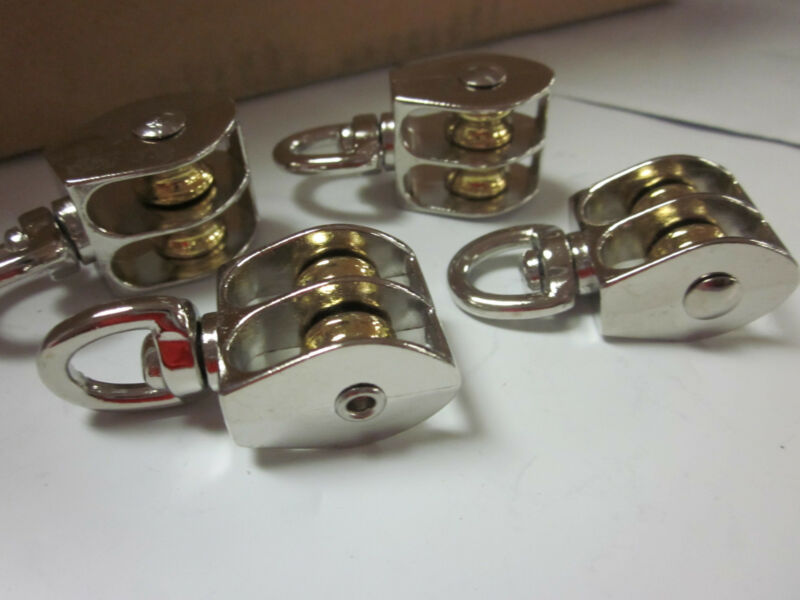 """~ 4pc ~ 1/2"""" DOUBLE WHEEL BRASS SHEAVE DIE-CAST CHROME PULLEY ROPE WIRE HOIST"""