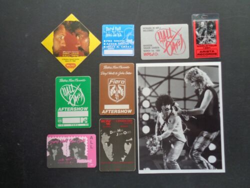 """HALL and OATES,8x10"""" B/W Promo Photo,8 Original Backstage Passes,Various Tours,"""