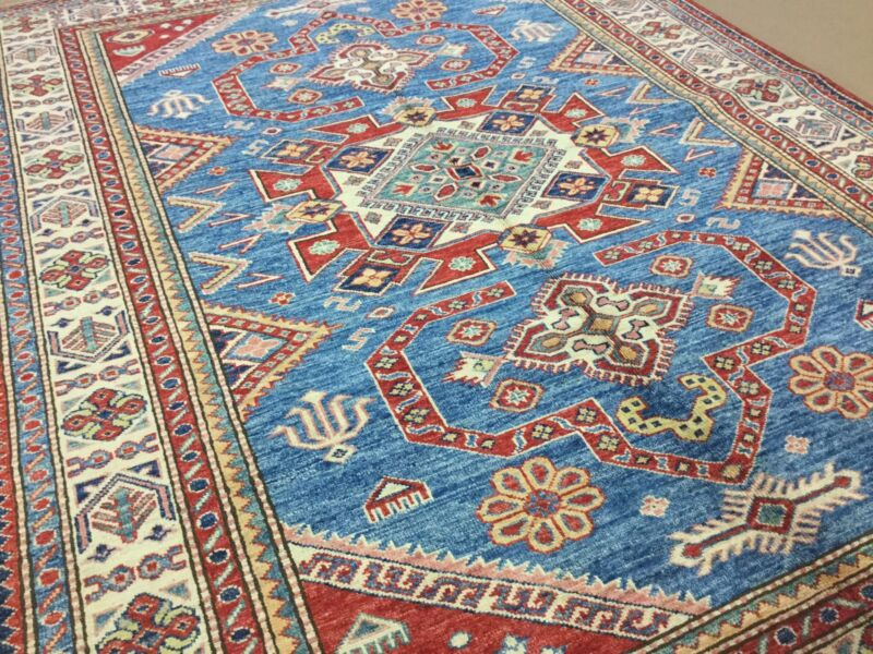 Persian Oriental Rug Geometric Hand Knotted Wool Light Blue Beige 4