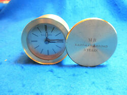 TIFFANY & CO. DESK ALARM CLOCK, QUARTZ, ROUND, BRASS SWIVEL TOP. RUNNING