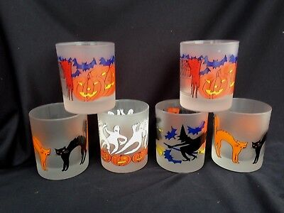 6 Frosted Halloween Double Old Fashion Tumblers Pumpkin Cat Ghost Bat Witch Frosted Halloween Ghost