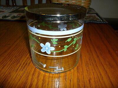 Pfaltzgraff- SUMMER BREEZE- Mediam Glass Storage Jar With Silver Lid - Pretty  - $17.00