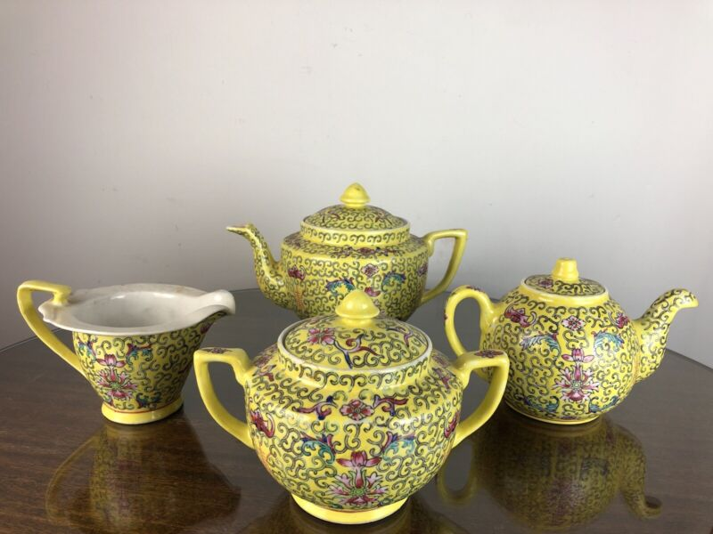 4 Pc Chinese Famille Jaune Rose Medallion Porcelain Tea Set Pot Sugar Creamer