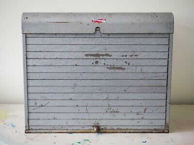 Vintage Brumberger Extra Large Metal Industrial File Cabinet Roll Up Door