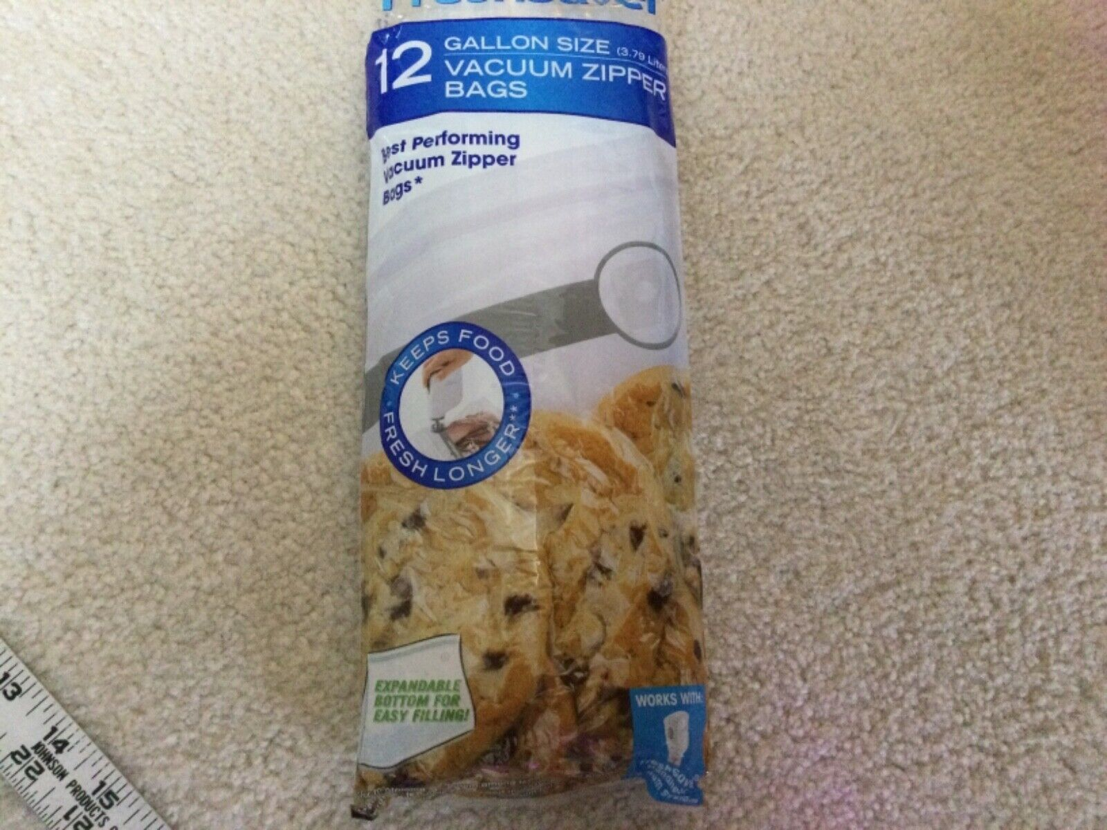 Foodsaver Freshsaver Gallon Size Vacuum Zipper Bags Expandable 12 Sealed Bag - $12.99