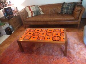 Coffee Table - Orange Tiled Top - Wood Frame - Vintage / Retro 1970s
