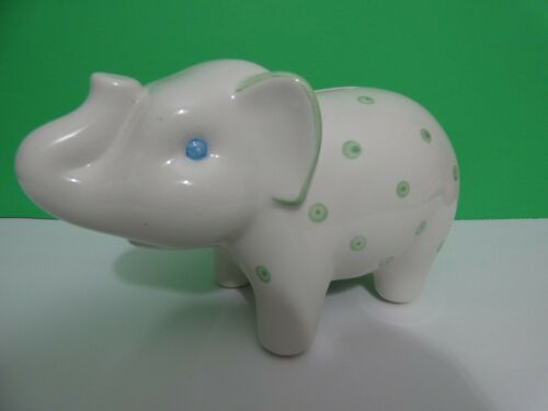 "Tiffany & Co Porcelain Elephant Piggy Bank White & Green Polka Dot 10"" Italy"