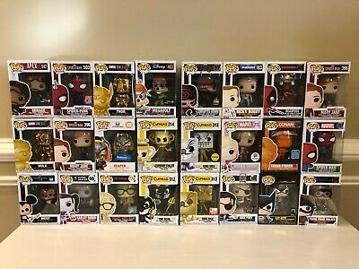 Funko Pop lot of 24 ( Venom, Chase, Spider-Man, Cuphead, Exclusives )