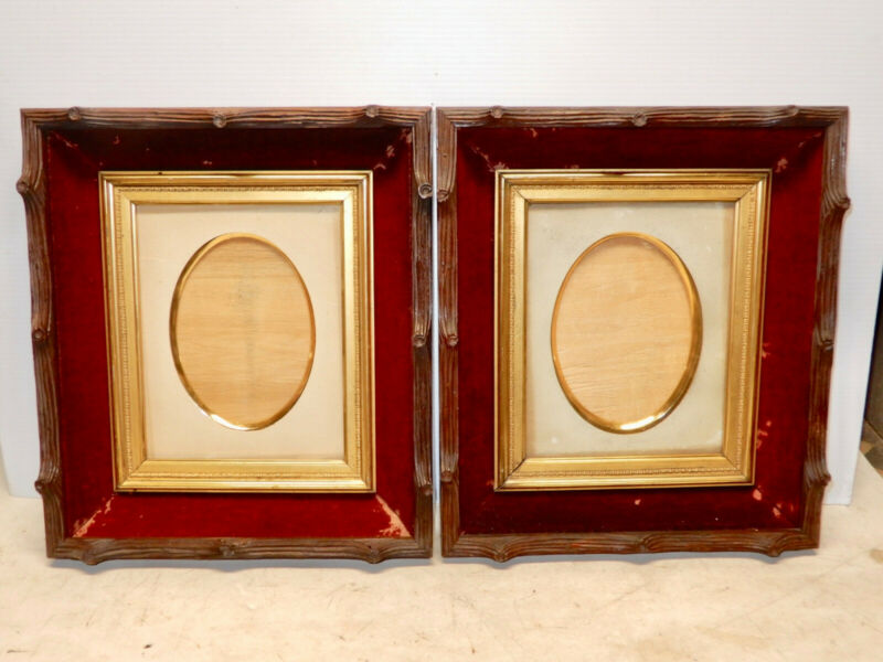2 ANTIQUE CARVED WALNUT BLACK FOREST PICTURE FRAMES WITH ORIG. GLASS AND INSERTS
