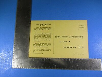 Vintage Social Security Administration Request For Statement Of Earnings S5505