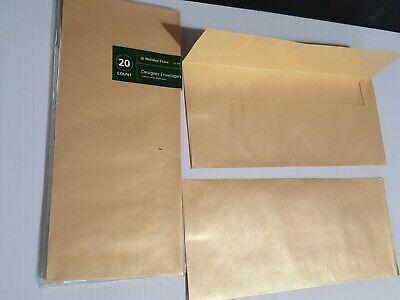 10 Square Envelopes Flap 4 18 X 9 12 - Designer Gold Shimmer 20 Count