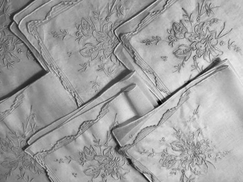 """Six Old Vintage Cute Appenzell Embroidery Organdy Bridal Tea Napkins 12 1/4"""" SQ,"""
