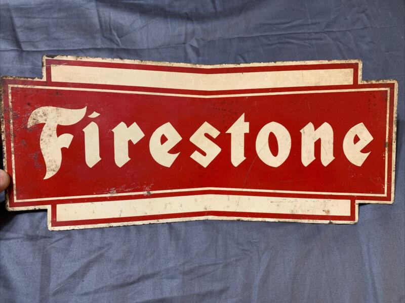 "Vintage Rare Firestone Tires Heavy Metal Rack Sign 12.75"" x 5.5"""