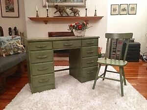 Vintage Solid Wood Desk with matching Chair from 60s