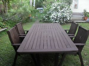 LARGE 2.4 M X 1 M OUTDOOR TABLE AND FOUR CHAIRS Boronia Heights Logan Area Preview