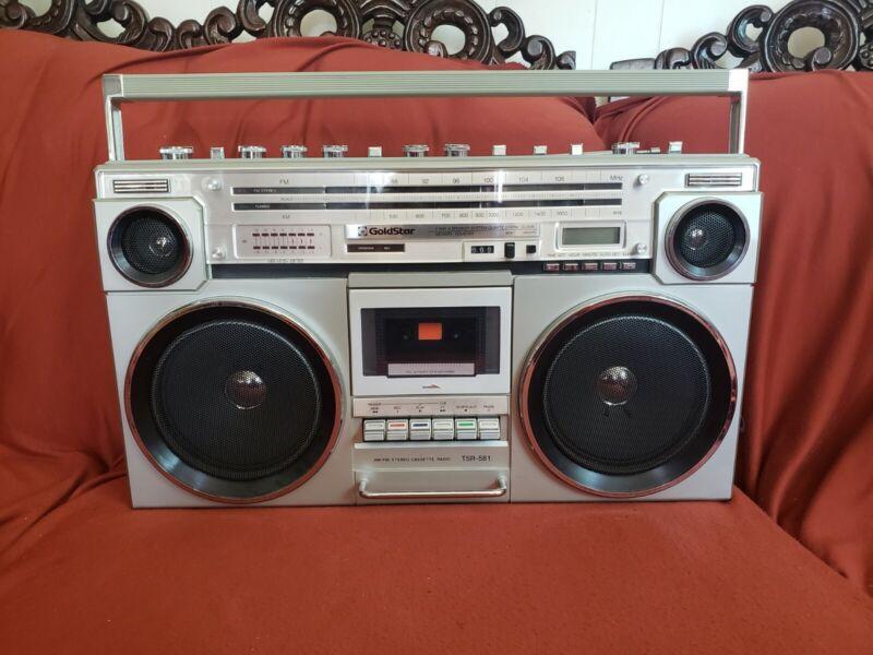 Goldstar TSR-581 Ghetto Blaster Boombox Stereo Cassette Recorder READ