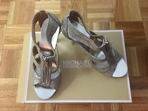 New silver Michael Kors heel sandals size 7.5