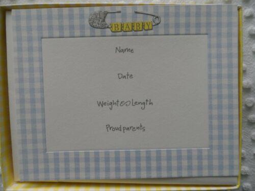 NEW in Box 10 Boy  Birth Announcement 5X7 Cards Blue Gingham Trim  By Crane