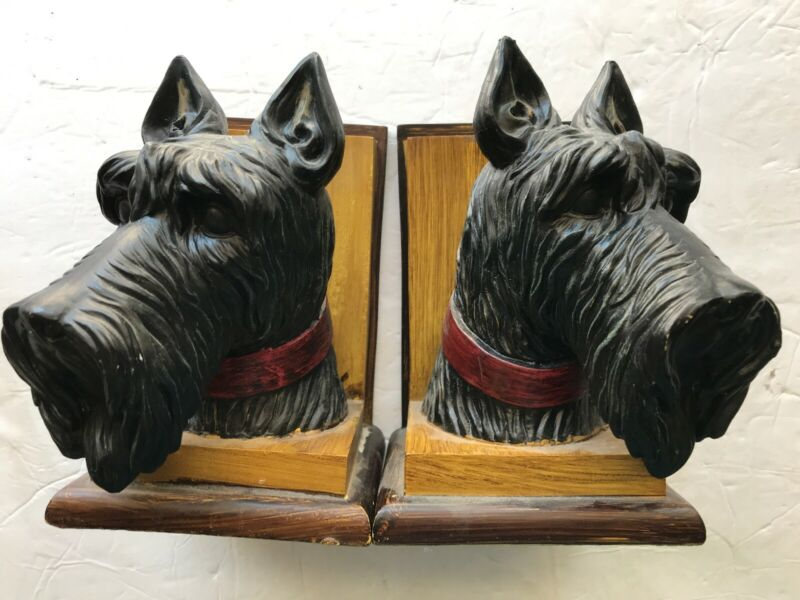 Schnauzer Dog Vintage Bookends